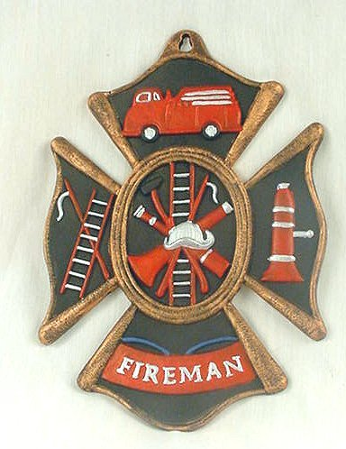 Vintage Style Fireman/Firefighter Cast Iron Wall Plaque - 05207