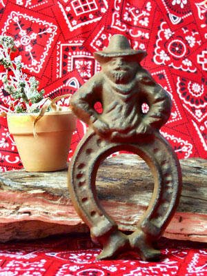Cast Iron Bow-Legged Cowboy Horseshoe Figurine Lot of 4 - 05103