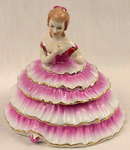 Powder Trinket Box Girl Pink Limoges China Figurine - 15839