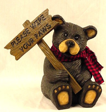 """Bear Northwood w/Sign """"Please Wipe Your Paws"""" Rustic - 21105"""