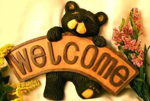 Northwood Bear Holding Welcome Sign Rustic Cabin - 26203