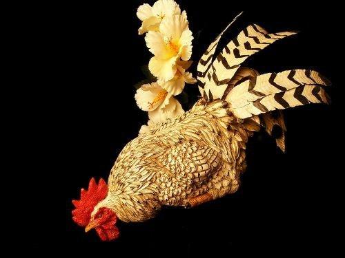 Black & White Rooster Life-Like Farm Shelf Sitter - 2550