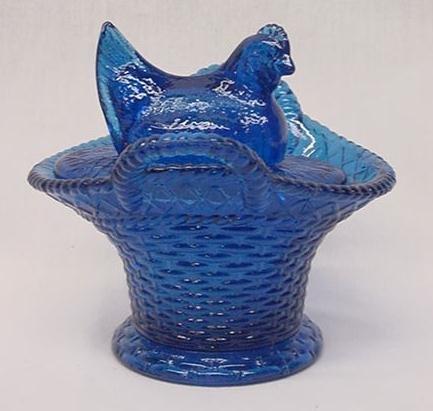 Blue Glass Chicken on Basket - 16112