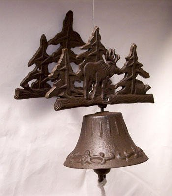 Moose Bell Cast Iron 3D Wall Mount Rustic Forest - 13618