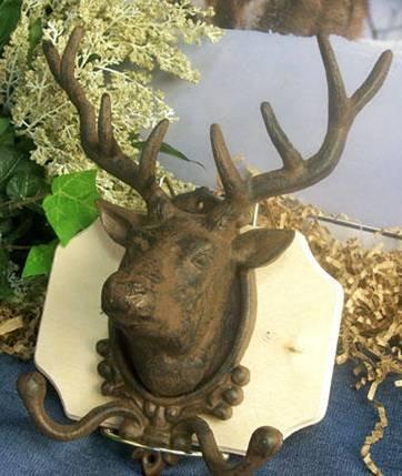 Cast Iron Elk Deer Head Wall Hook Hat/Coat Rack - 01648