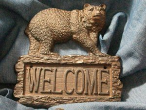 Bear Welcome Sign Cast Iron Rustic Cabin Lodge - 08445