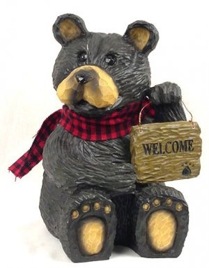 Northwood Bear w/ Welcome Sign Rustic Cabin Camping - 21110