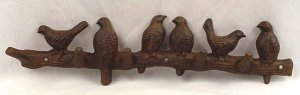 Cast Iron Birds On Branch Wall Hook Plaque Decor - 13592