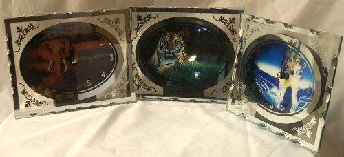 Wildlife Clock Lot of 3 -1 each Elephant Tiger Wolf -080809