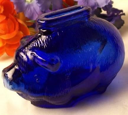 Piggy Bank Cobalt Blue Glass Vintage Style - 16204