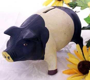 Pig Bank Country Farm Cast Iron Black and White -04616