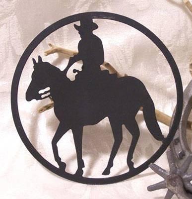 Metal Cut-Out Cowboy On Horse Plaque  - 12102