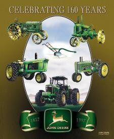 John Deere 160th Anniversary Tin Sign Farm Tractor - 727