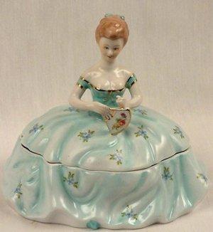 Powder Box Girl Light Blue Limoges China Reproduction - 15840