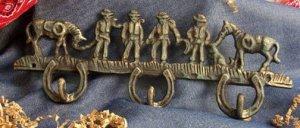 Cowboys & Horses Hook Cast Iron Wall Decor Lot of 2 - 01234