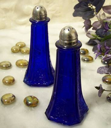 Blue Glass Floral Salt & Pepper Shakers - 16151
