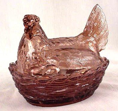 Hen On Nest Purple Slag - 1659