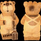 12 inch Farmer Bear Figurine Wood Carved Look - GA2603 - 4