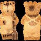 12 inch Farmer Bear Figurine Wood Carved Look - GA2603 - 4