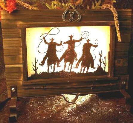 3 Cowboy Ropers Candle Holder Old West - 73296 - 73