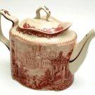 Elegant Red Toile Teapot - 15934 - 11