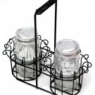 Clear Glass Salt & Pepper w Basket - 16519 - 22