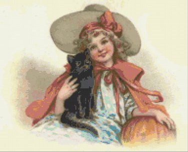 Girl in Hat with Black Cat and Pumpkin Halloween Counted Cross Stitch Pattern NCCS 1032