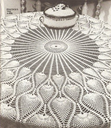 Peacock's Tail Pineapple Tablecloth Crochet Pattern C 1038