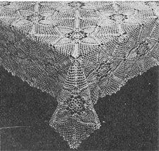 Pineapple Square Tablecloth Crochet Pattern C 1040