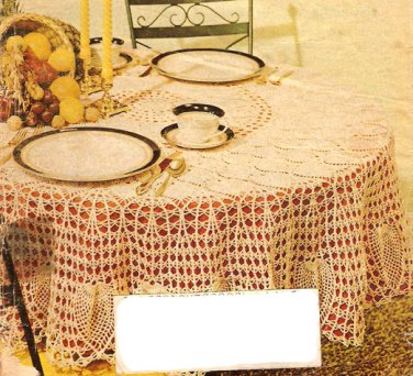 Route 3 Row Pineapple Tablecloth Crochet Pattern  C 1045