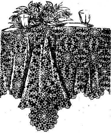 Seaman's Cobweb Tablecloth Crochet Pattern  C 1001