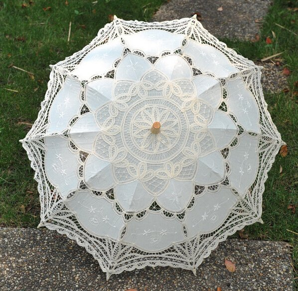 free shipping Exquisite White/Ivory Battenburg Lace Wedding Parasol Umbrella Bridal Shower