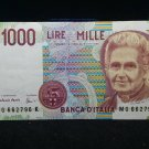 1990 Italy 1000 Lire one thousand lira Italian note banknote Italy paper money