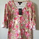 NEW YORK LAUNDRY N.Y.I. V Neck Animal Floral Print Top Sz M NWT NEW Spring.    M