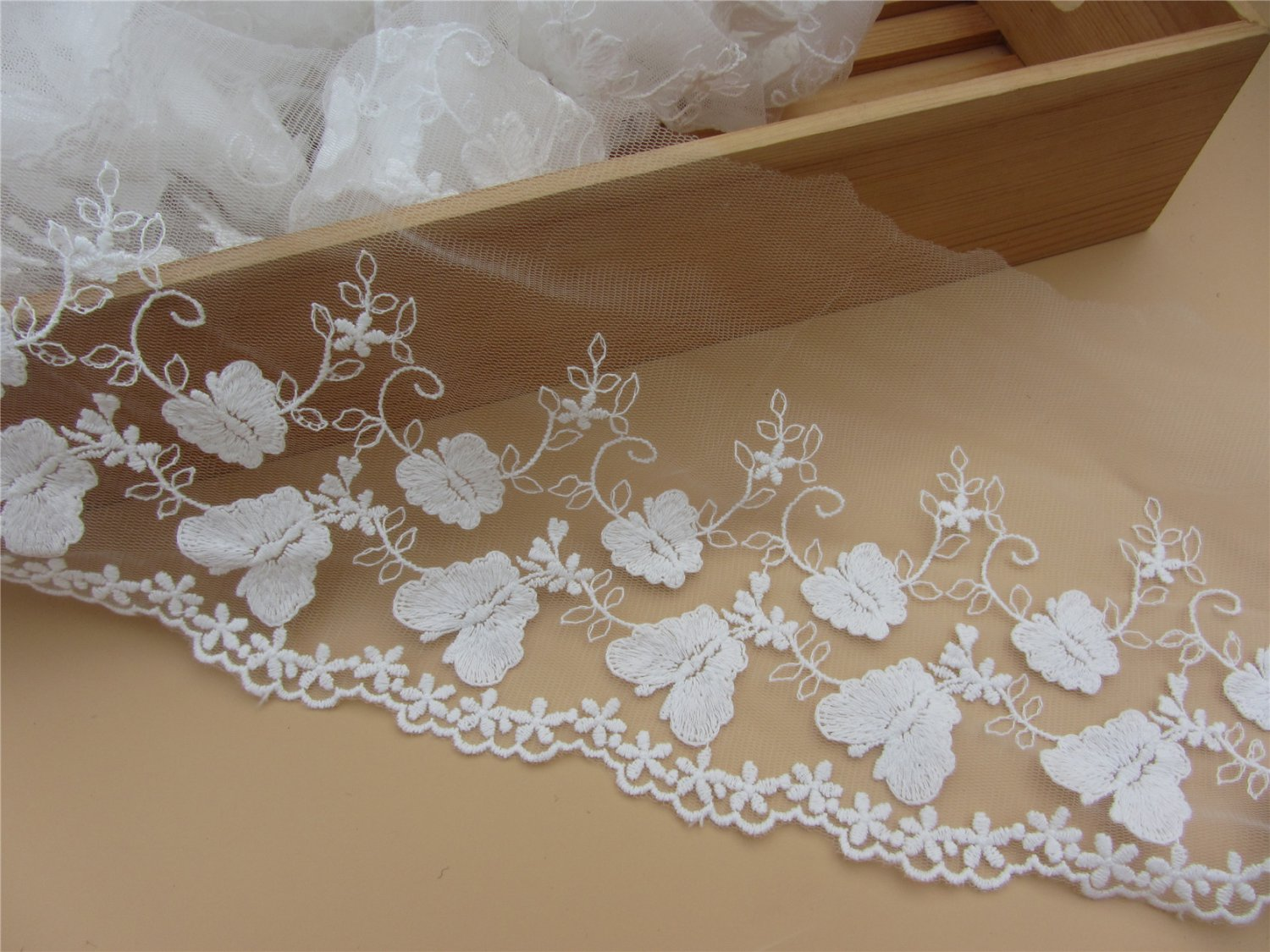5yards butterfly Lace trim-white ribbon for sewing-LSENS043