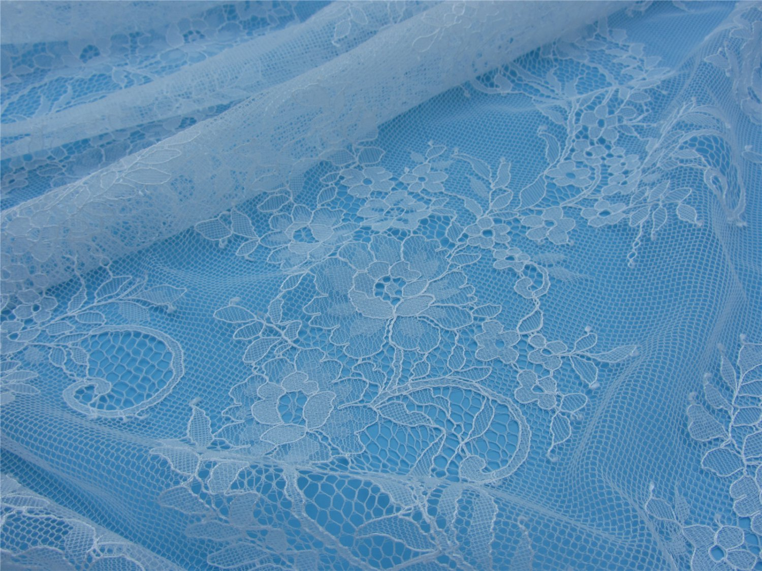 eyelash lace fabric,Chantilly Lace -3meters in 1pcs High quality-T002