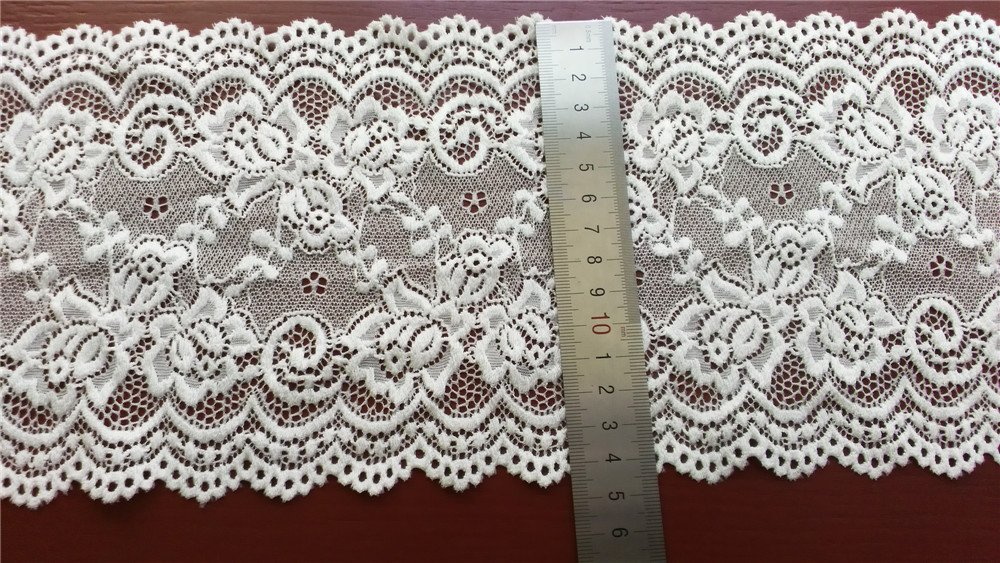 Stretch lace trim,5yards white lace,garter lace trimming-LSY001
