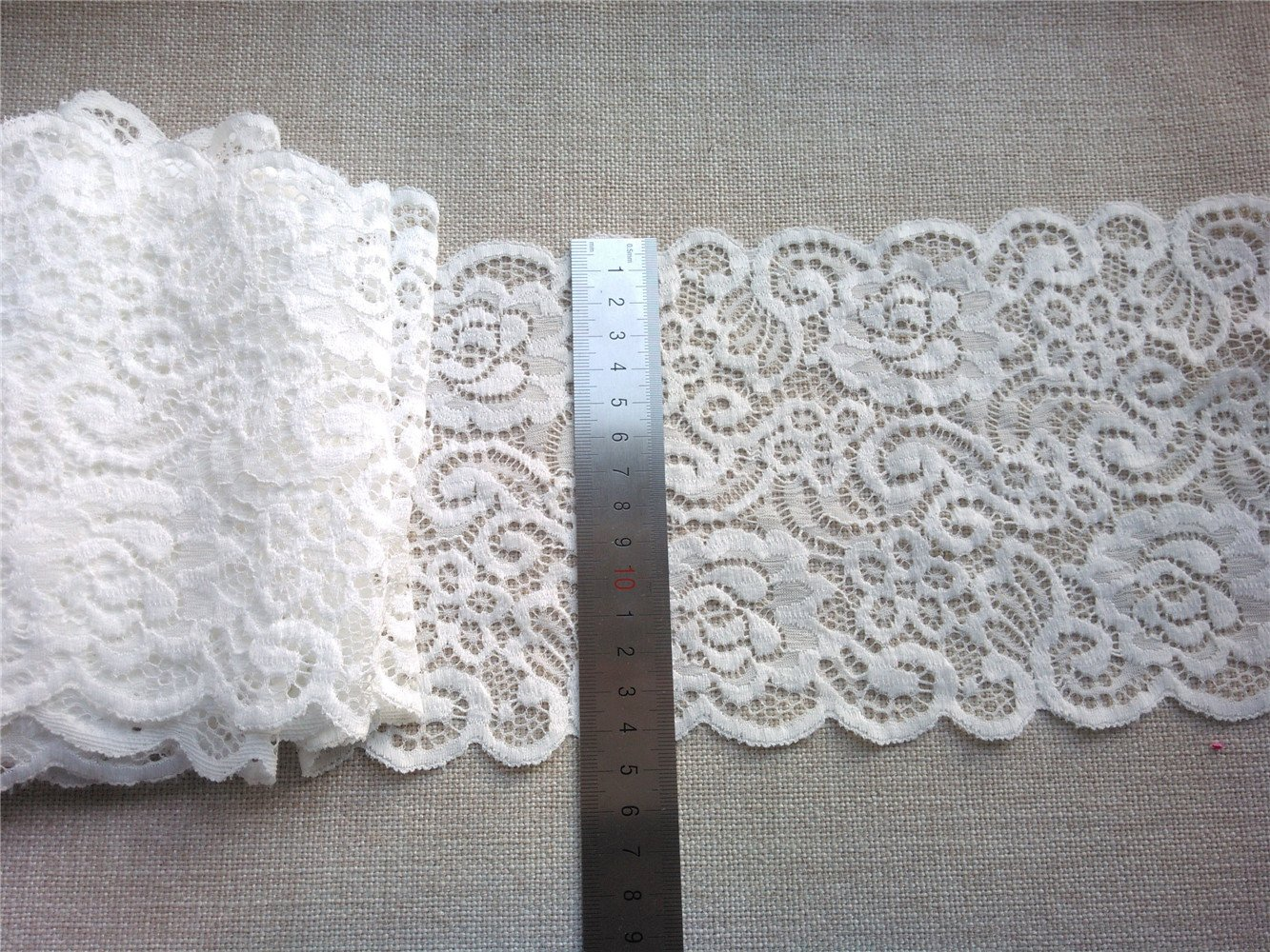 Stretch lace trim,5yards white lace,garter lace trimming-LSY0014