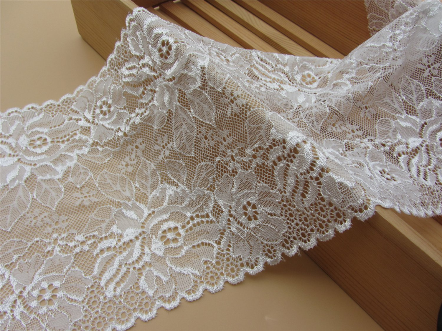 Stretch lace trim,5yards white lace,garter lace trimming-LSY022