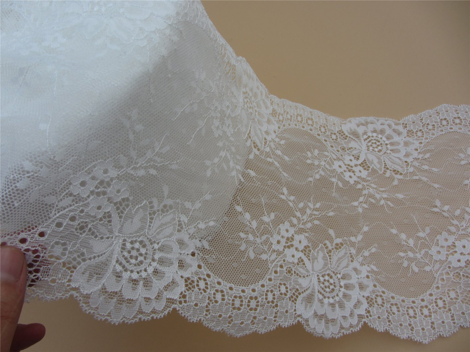 Stretch lace trim,5yards white lace,garter lace trimming-LSY024