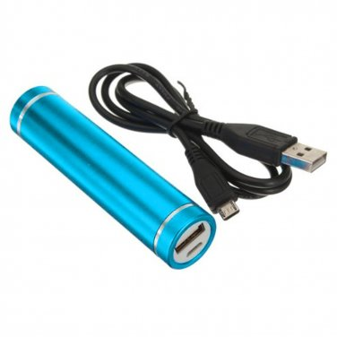 Light Blue Portable USB Cell Phone Charger Power Bank iPhone Samsung PSP HTC