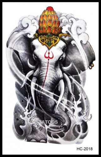 Elephant Tattoo Large sexy Waterproof Colorful Temporary Tattoo Body Arm Art Sticker Removable