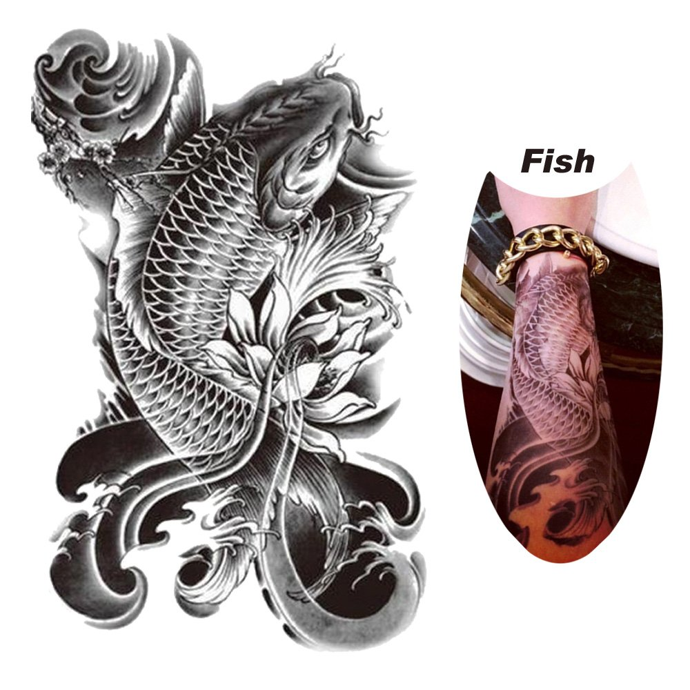 Dragon fish waterproof removable temporary tattoo body arm for Dragon fish tattoo