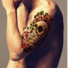 Skull Red Rose Tower Waterproof Removable Temporary Tattoo Body Arm Art Sticker