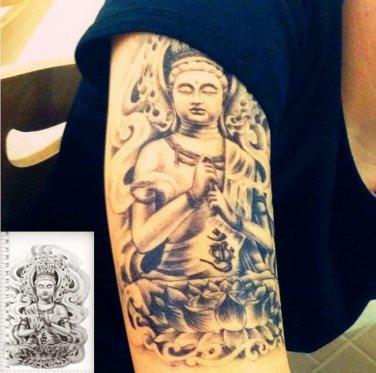 Buddha Lotus Waterproof Removable Temporary Tattoo Body Arm Art Sticker