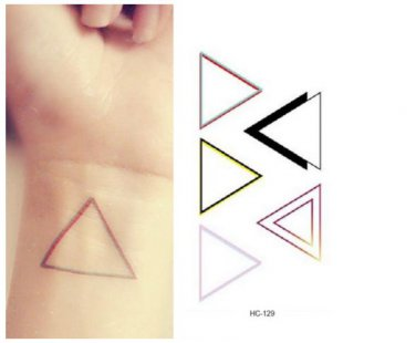 Triangle Colorful Waterproof Removable Temporary Tattoo Body Arm Art Sticker