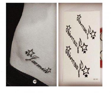 Star English Waterproof Removable Temporary Tattoo Body Arm Art Sticker