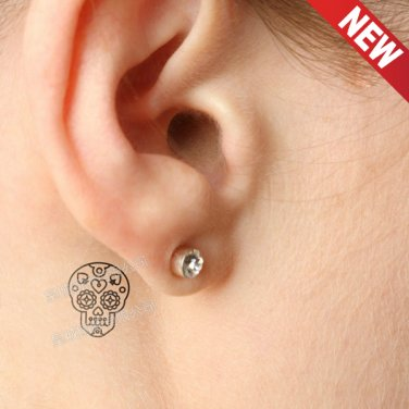 Floral Skull Waterproof Removable Temporary Tattoo Body Arm Art Sticker