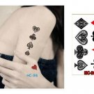 Poker Patterns Waterproof Removable Temporary Tattoo Body Arm Art Sticker