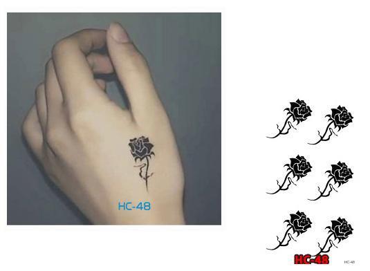 BLACK ROSE Waterproof Removable Temporary Tattoo Body Arm Art Sticker